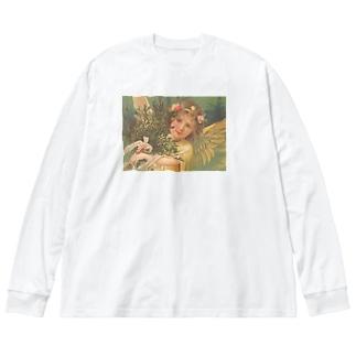 天使③ Big silhouette long sleeve T-shirts