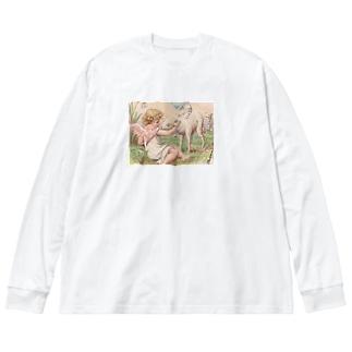 天使④ Big silhouette long sleeve T-shirts