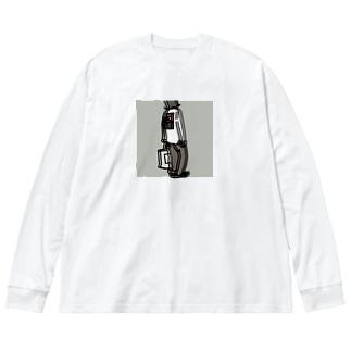 花札ガール Big silhouette long sleeve T-shirts