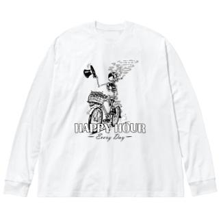 """HAPPY HOUR""(B&W) #1 Big Long Sleeve T-shirt"
