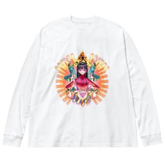 人生妨害電波除去・橙 Big silhouette long sleeve T-shirts