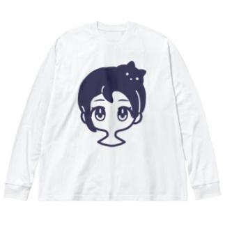 クロネコアタマ Big silhouette long sleeve T-shirts