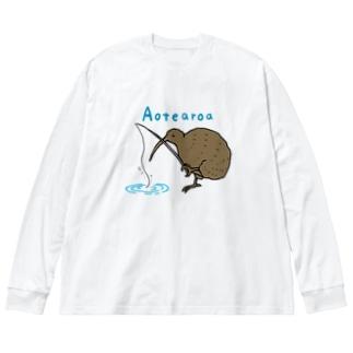 釣りを楽しむキウイバード Big silhouette long sleeve T-shirts