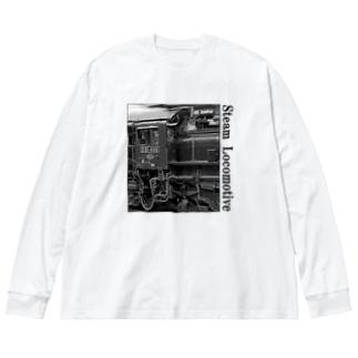 D51498 運転席周辺 黒いレタリング (モノクロフォト) Big silhouette long sleeve T-shirts