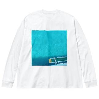 南の海 Big silhouette long sleeve T-shirts