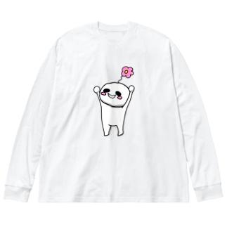 バンザイはなちょ Big silhouette long sleeve T-shirts
