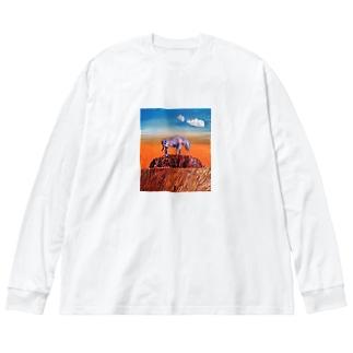 エアーズロックにそびえたつレインボージブラ 冬物 Big silhouette long sleeve T-shirts