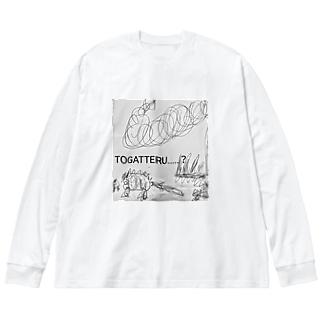 トゲトゲざうるす3兄弟 Big silhouette long sleeve T-shirts