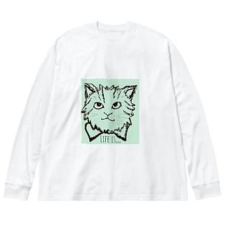 ミイちゃん 2 Big silhouette long sleeve T-shirts