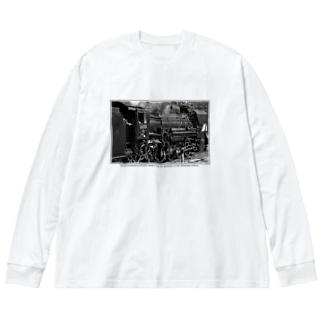 ノスタルジック ランドスケープの上越線 水上駅でスタンバイするSL D51498 (モノクロフォト) Big silhouette long sleeve T-shirts
