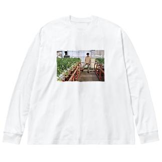 いちご狩りにいこう。 Big silhouette long sleeve T-shirts