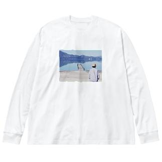 湖と山 Big silhouette long sleeve T-shirts