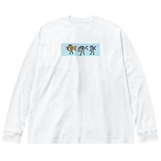 おさかな三銃士 Big silhouette long sleeve T-shirts