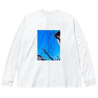 晴天 Big silhouette long sleeve T-shirts