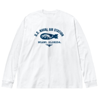 US NAVAL AIR STATION MIAMI Big silhouette long sleeve T-shirts