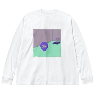 貝のプール入り口 Big silhouette long sleeve T-shirts