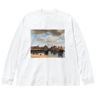 フェルメール / 『デルフト眺望』1660年-61年 Big silhouette long sleeve T-shirts