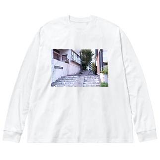 高知の路地 Big silhouette long sleeve T-shirts