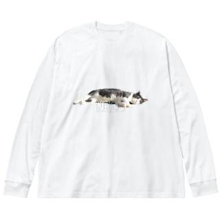 ねこ HINATA-NECO Big silhouette long sleeve T-shirts
