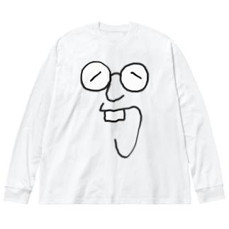 メガネ Big silhouette long sleeve T-shirts