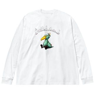 Stuffed Animals_Shoebill Big silhouette long sleeve T-shirts