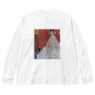 グスタフ・クリムト(Gustav Klimt) / 『フリッツア・リードラーの肖像』(1906年) Big silhouette long sleeve T-shirts