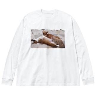 何をしても起きないコーギー Big Silhouette Long Sleeve T-Shirt