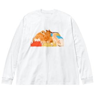 おしりドライヤーを待つ犬と猫 Big Silhouette Long Sleeve T-Shirt