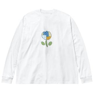 つぎはぎチューリップ Big silhouette long sleeve T-shirts