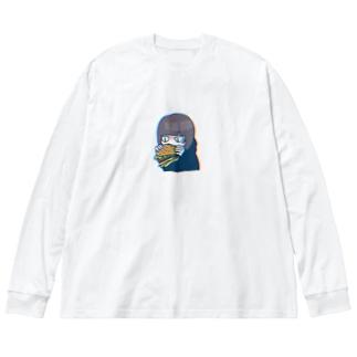 ハンバーガーうまい Big silhouette long sleeve T-shirts