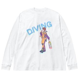 ドライスーツダイバー女子 Big silhouette long sleeve T-shirts