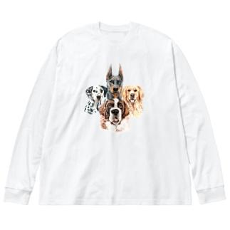 賢くて優しい、大きい犬たち。 Big silhouette long sleeve T-shirts
