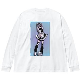 眉なしメイド Big silhouette long sleeve T-shirts
