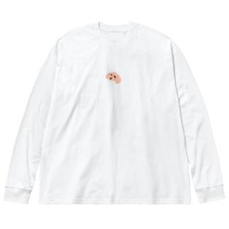 「保護犬カフェ支援」グッズ 琥珀さん プードル Big silhouette long sleeve T-shirts
