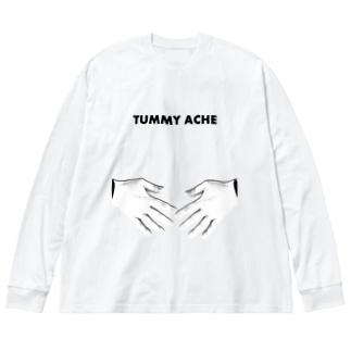 ポンポン痛い English ver. Big silhouette long sleeve T-shirts