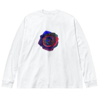 ばら Big silhouette long sleeve T-shirts