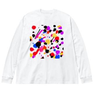 ドリッピング柄風 Big silhouette long sleeve T-shirts