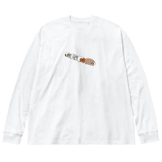 渋滞モルモット Big silhouette long sleeve T-shirts