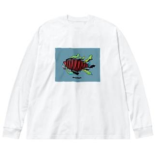 魚工場 Big silhouette long sleeve T-shirts