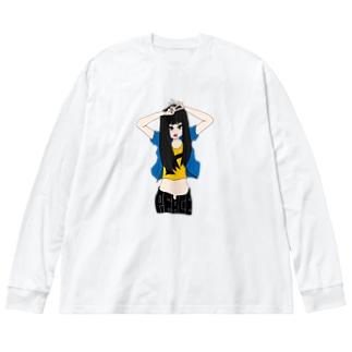 ぴーす。 Big silhouette long sleeve T-shirts