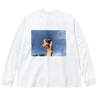 いちごの空 Big silhouette long sleeve T-shirts