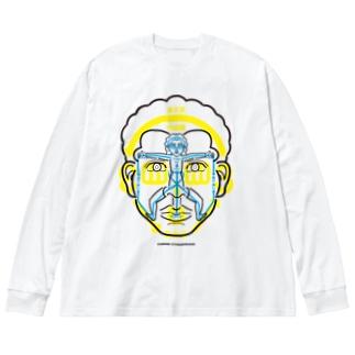 図人間1 Big silhouette long sleeve T-shirts