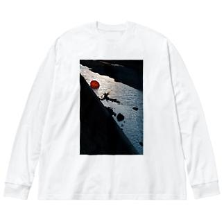 川に傘 Big silhouette long sleeve T-shirts