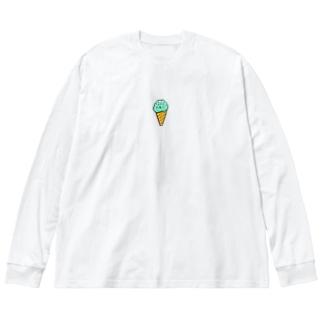 ドット絵なチョコミント。 Big silhouette long sleeve T-shirts