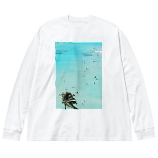 ワイキキビーチ縦 Big silhouette long sleeve T-shirts