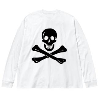海賊旗スカル-Jolly Roger サミュエル・ベラミーの海賊旗-黒ロゴ Big silhouette long sleeve T-shirts