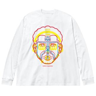 図人間1_2 Big silhouette long sleeve T-shirts