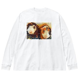 もじおともじろう Big silhouette long sleeve T-shirts