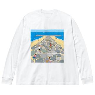 湘南ランドスケープ05:茅ケ崎ヘッドランド Big silhouette long sleeve T-shirts