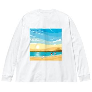 湘南ランドスケープ02:ひこうき雲 Big silhouette long sleeve T-shirts